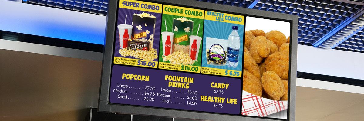 Digital signage menuboard display